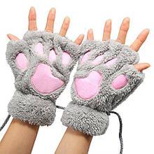 Перчатки кигуруми плюшевые, перчатки с открытыми пальцами кигуруми Серый