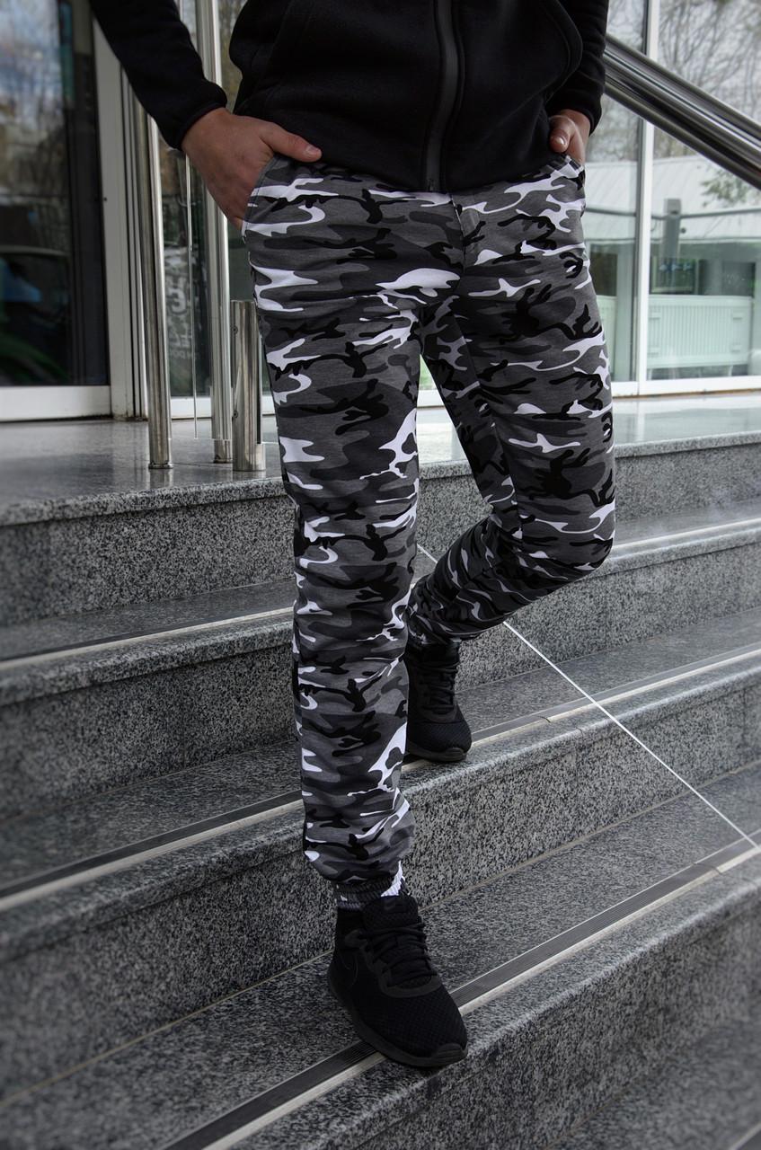 Штаны мужские спортивные камуфляж серые трикотажные