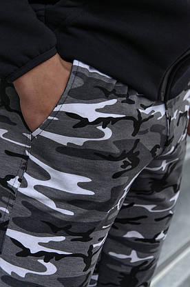 Штаны мужские спортивные камуфляж серые трикотажные, фото 3