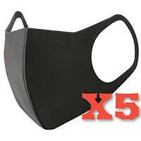 Многоразовая маска Питта 5 шт Черный| Гарантия качества