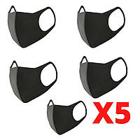 Многоразовая маска Питта 5 шт Черный| ОРИГИНАЛ