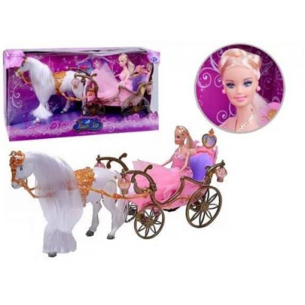 Карета с куклой и лошадкой