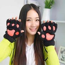 Перчатки кигуруми плюшевые, перчатки с открытыми пальцами кигуруми Черный