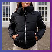 Женская теплая куртка осенняя зимняя черная голубая молочная желтая розовая кофейная 42 44 46 изумруд фиолет
