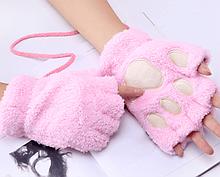 Перчатки кигуруми плюшевые, перчатки с открытыми пальцами кигуруми Розовый