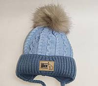Детская шапка для мальчиков с помпоном и на завязках, Алекс малюк D668