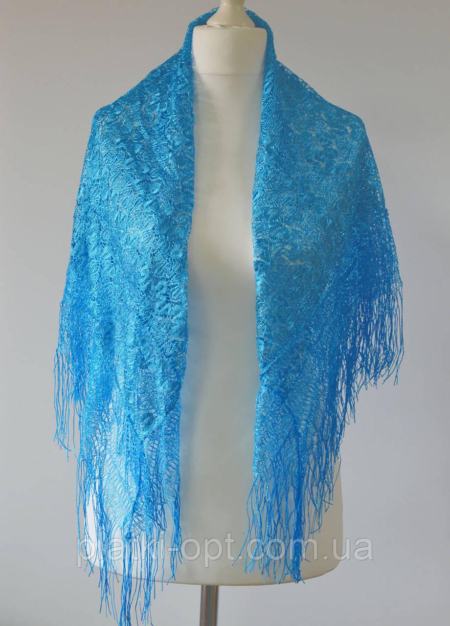 Платок ажурный с бахромой (синий)