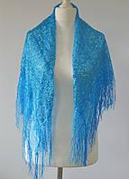 Платок ажурный с бахромой (синий), фото 1