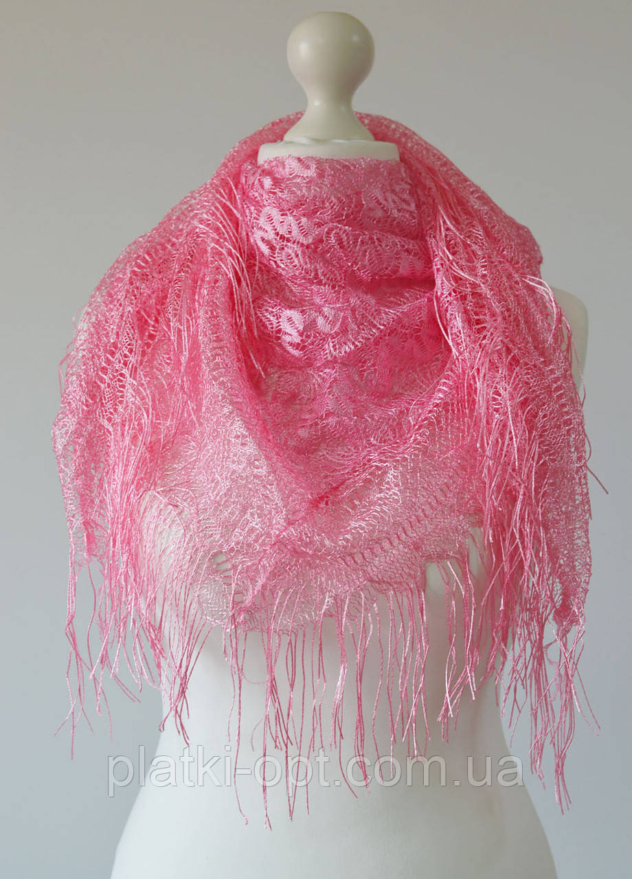 Хустка ажурний з бахромою (рожевий)