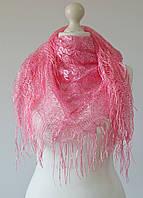 Хустка ажурний з бахромою (рожевий), фото 1