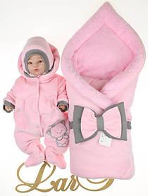 """Зимний комплект для новорожденных девочек """"Маленькая принцесса"""" розовый"""