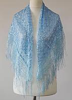 Платок ажурный с бахромой (голубой), фото 1