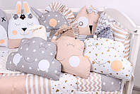 Комплект в кроватку с игрушками и облачками в бежево-серомцвете, фото 4