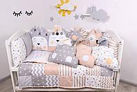 Комплект в кроватку с игрушками и облачками в бежево-серомцвете, фото 2