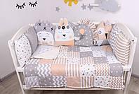 Комплект в кроватку с игрушками и облачками в бежево-серомцвете, фото 5