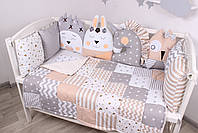 Комплект в кроватку с игрушками и облачками в бежево-серомцвете, фото 3