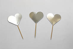 """Шпажки """"сердечки"""" хром серебро 10 шт./уп."""