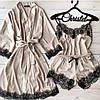 Шелковый набор с французским кружевом (халат + пижама), фото 6