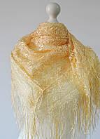 Платок ажурный с бахромой (золотой), фото 1