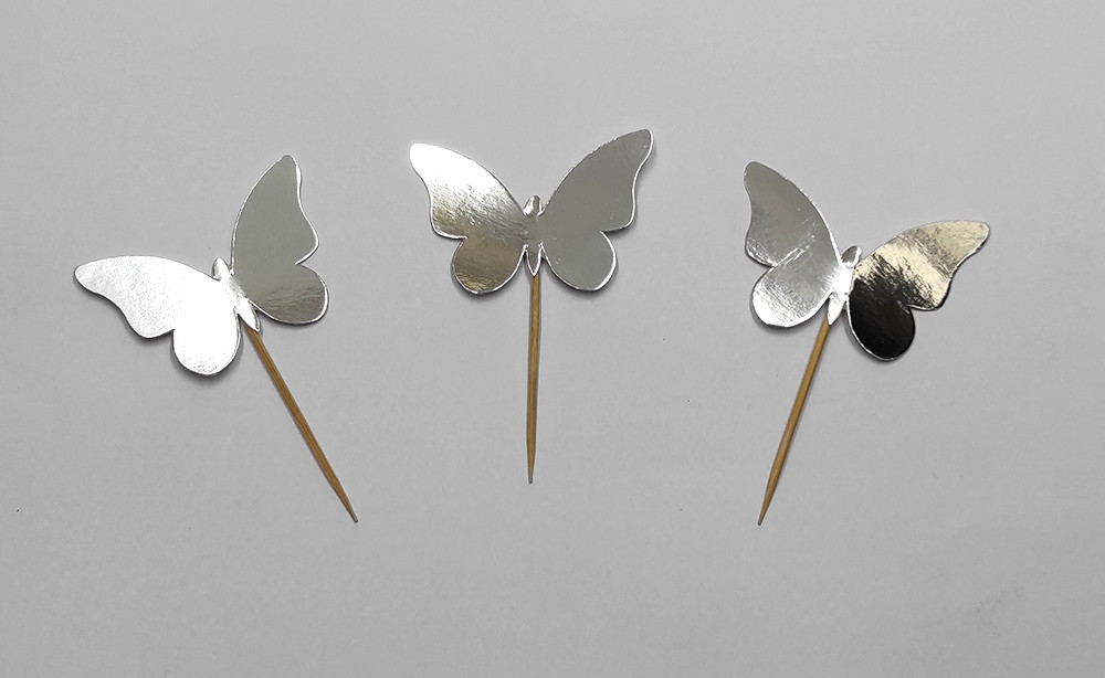 """Шпажки """"Бабочки"""" хром серебро 10 шт./уп."""