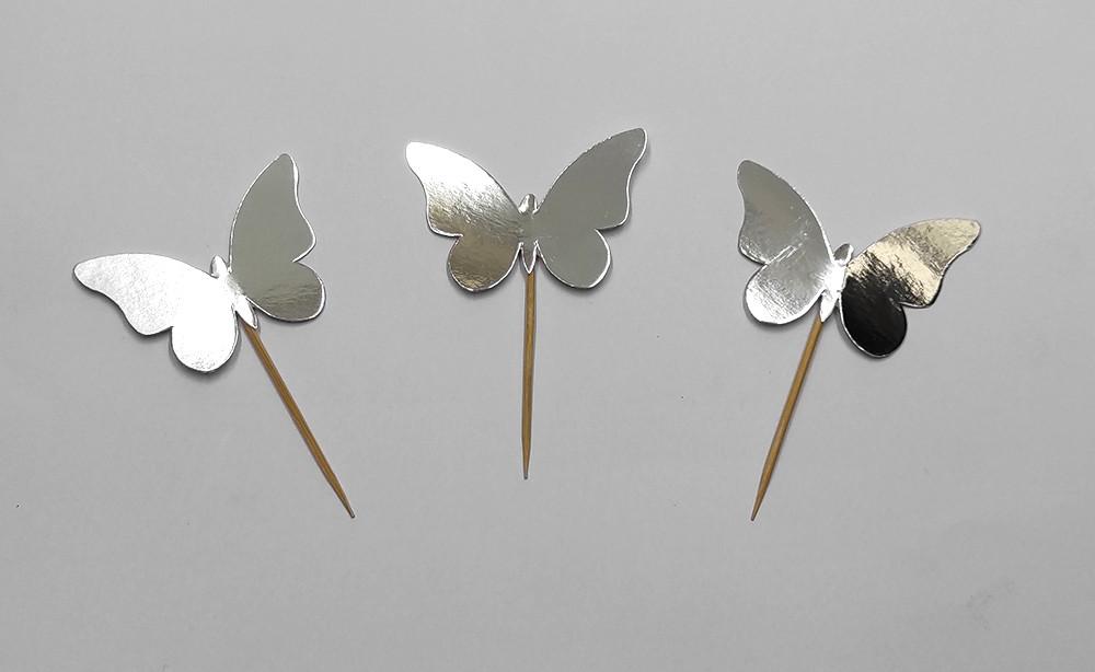 """Шпажки """"Метелики"""" срібло хром 10 шт/уп."""