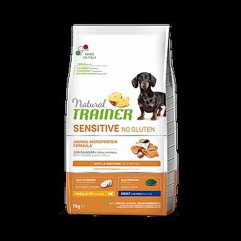 Сухой корм Trainer Dog Sensitive Adult Mini для взрослых собак мини пород с лососем, 7 кг