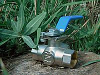 """Кран нержавіючий кульовий трьохходовий з майданчиком під привід """"T""""-образний 1"""" Genebre, фото 1"""