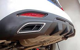 Hyundai Sonata YF 2011+ накладка на задний бампер диффузор Black