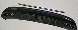Hyundai Elantra MD 2012+ накладка на задний бампер диффузор Black стиль F1
