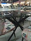 Прозорий стіл Т-309 від Vetro Mebel D90 см, скло+чорний метал, фото 2
