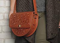 Эксклюзивная полукруглая рыжая женская сумочка через плечо, тисненый авторский узор, фото 1