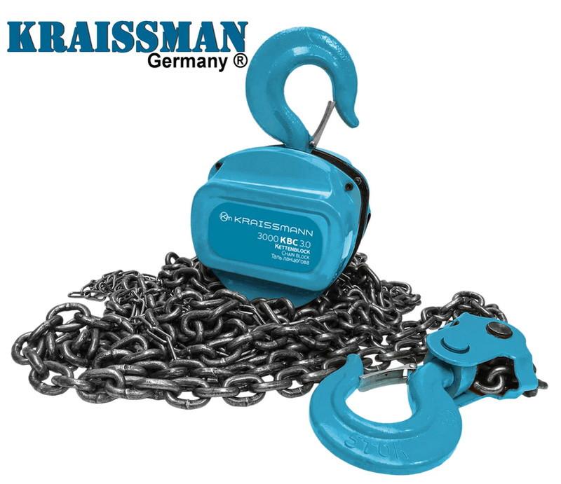 Таль цепная механическая грузоподъемностью 3 тонны Kraissmann 3000 KBC 3.0 подвесная лебедка