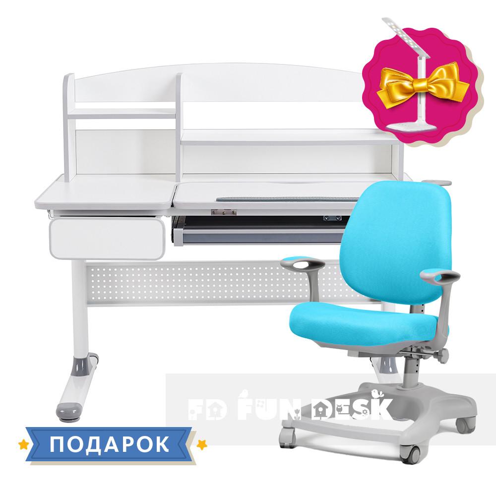 Комплект парта для школярів Cubby Grey Blue + ортопедичне крісло FunDesk Delizia Mint