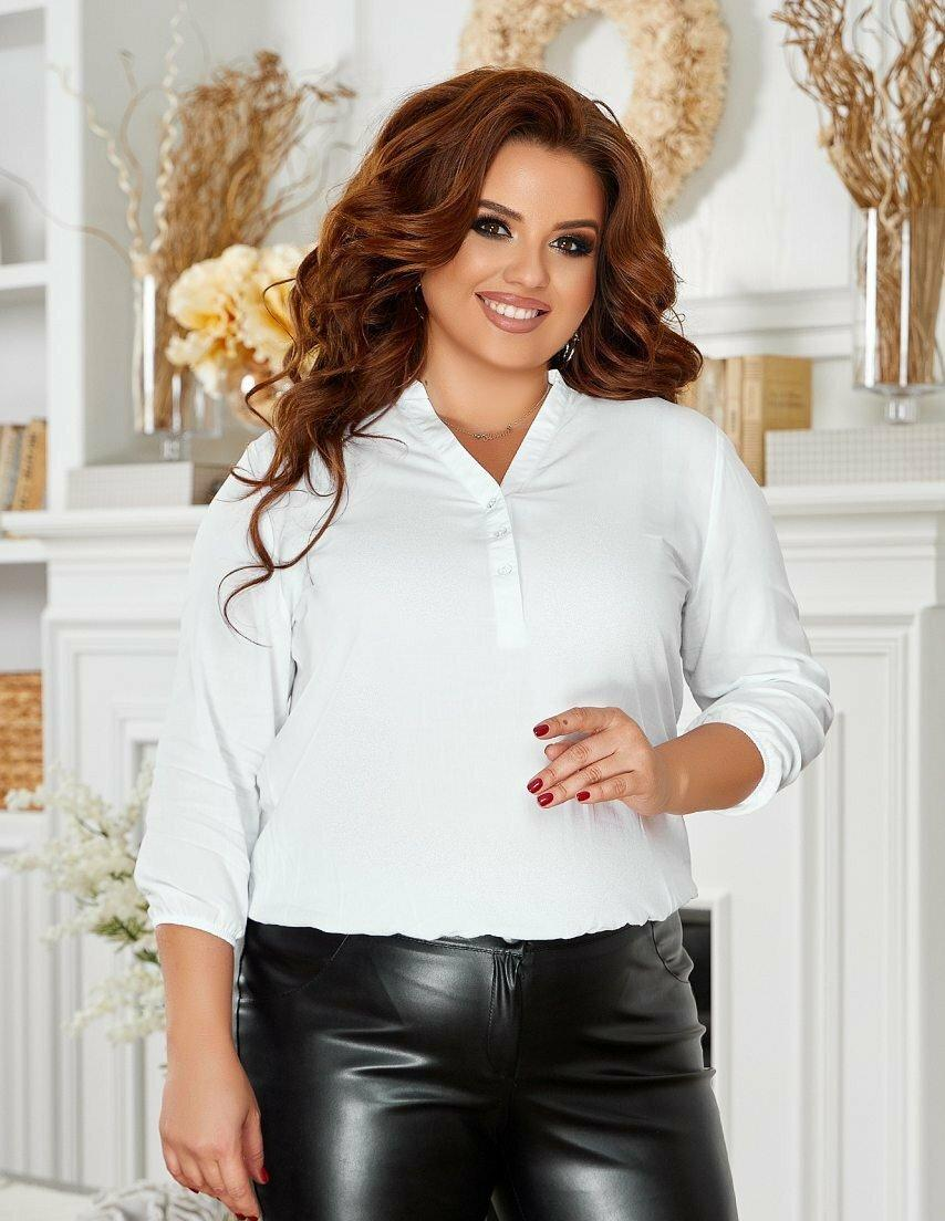 Женская белая блуза с рукавами три четверти батал