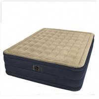 Велюровая надувная кровать Intex 67906 со встроенным электронасосом