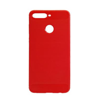 Силиконовый чехол Polished Carbon Huawei Y7 2018 (LDN-LX3)  (Красный)