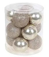 Набір новорічних прикрас, ялинкові кулі 12шт*4 см