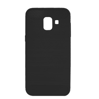 Силиконовый чехол Polished Carbon Samsung A600 Galaxy A6  2018 (Чёрный)