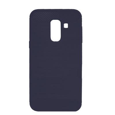 Силиконовый чехол Polished Carbon Samsung A605 Galaxy A6  Plus 2018 (Синий)