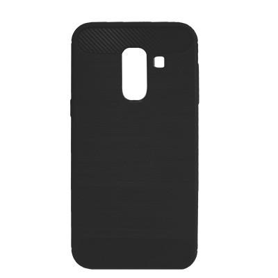 Силиконовый чехол Polished Carbon Samsung A605 Galaxy A6  Plus 2018 (Чёрный)