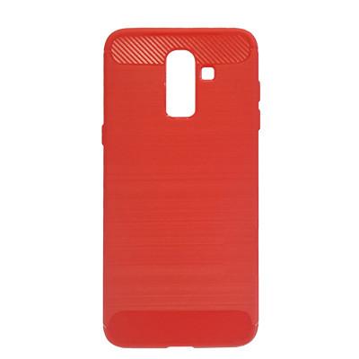 Силиконовый чехол Polished Carbon Samsung J810 Galaxy J8  2018 (Красный)