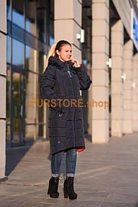 Жіночий пуховик зимовий синього кольору