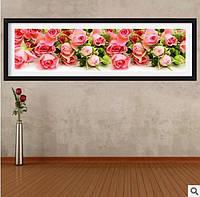 Алмазная вышивка Картина стразами 5D Розы для любимой 97х27 см Полная выкладка Круглые камни