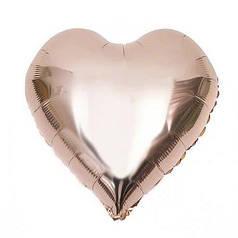 """Фол куля міні 4""""/10см Серце металік рожеве золото (Китай)"""