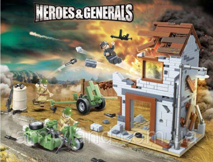 Конструктор военные руины здания, WW2,Вторая Мировая Война, 371 деталей