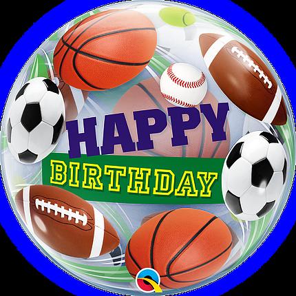 """Куля Bubble Бабл 22""""/56 см Happy birthday Спортивні м'ячі (Qualatex), фото 2"""