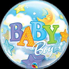 """Бабл 22"""" QUALATEX-КВ Baby Boy - мальчик и луна (УП)"""