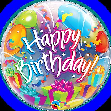 """Шар Bubble Бабл 22""""/56 см Шарики Happy birthday (Qualatex), фото 2"""