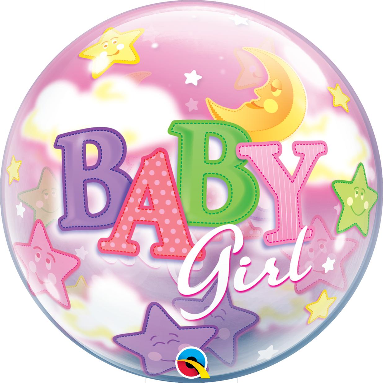 "Шар Bubble Бабл 22""/56 см Baby Girl Девочка и луна (Qualatex)"