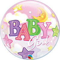 "Бабл 22"" QUALATEX-КВ Baby Girl - девочка и луна (УП)"